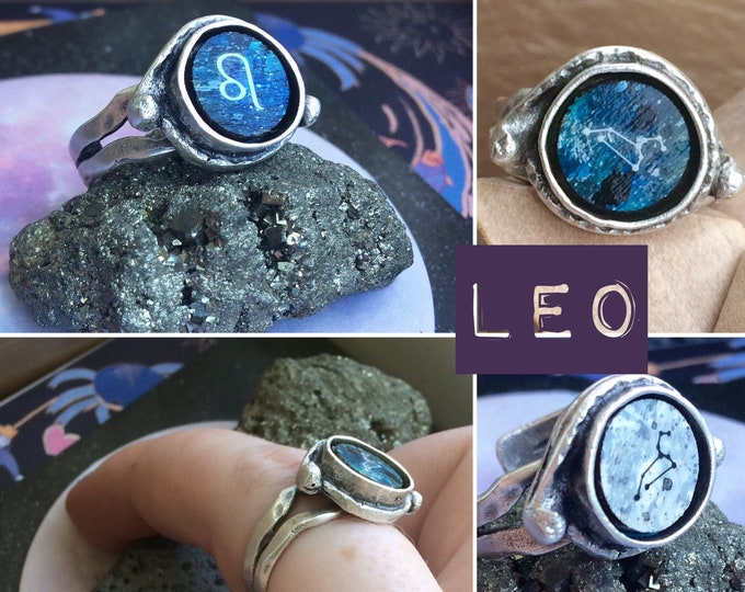 Silver Leo Zodiac Ring - Adjustable Fit