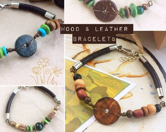 Leather & Wood Bead Bracelets for Men or Women - Boho Rustic Style