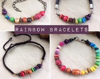 Rainbow Bracelet - Unisex for Men or Women in Leather, Chain & Cord
