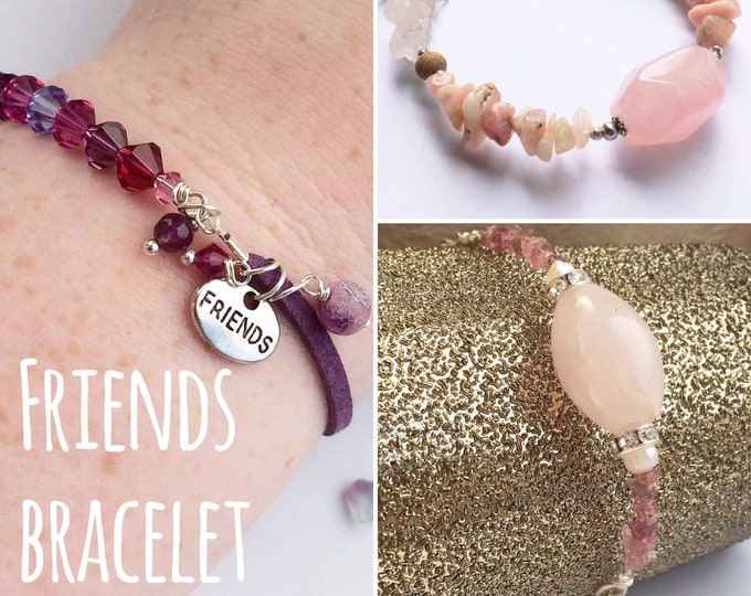 Gemstone Friendship Bracelets in Pink & Purple Colours with 'Friends' charm