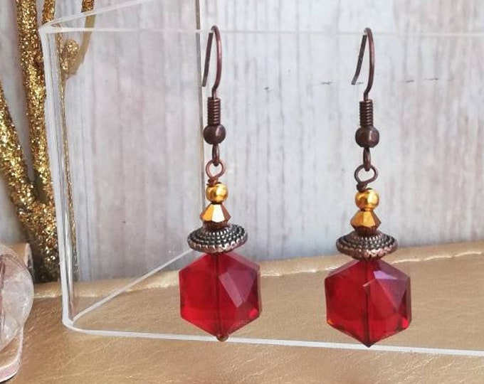 Red & Copper Drop Earrings with Crystal