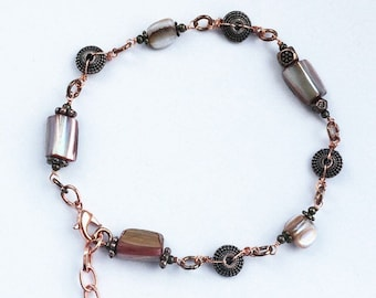 """Rose Gold Adjustable Bracelet with Mother of Pearl and 8""""-10"""" extender chain"""
