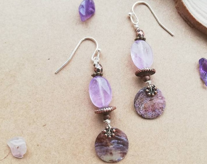 Pretty Pink, Violet Amethyst Earrings with Shell Pendant