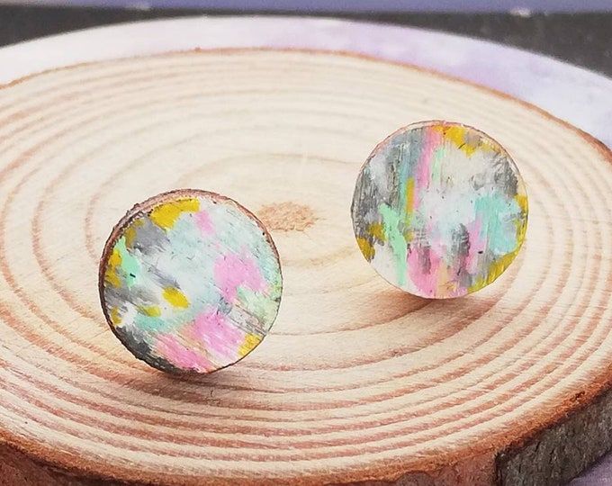 Fun Stud Earrings, Hand Painted Pink, Yellow & Turquoise