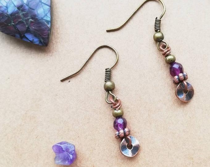 Short Purple Amethyst Gemstone Drop Earrings with Rustic Copper Disc Charm