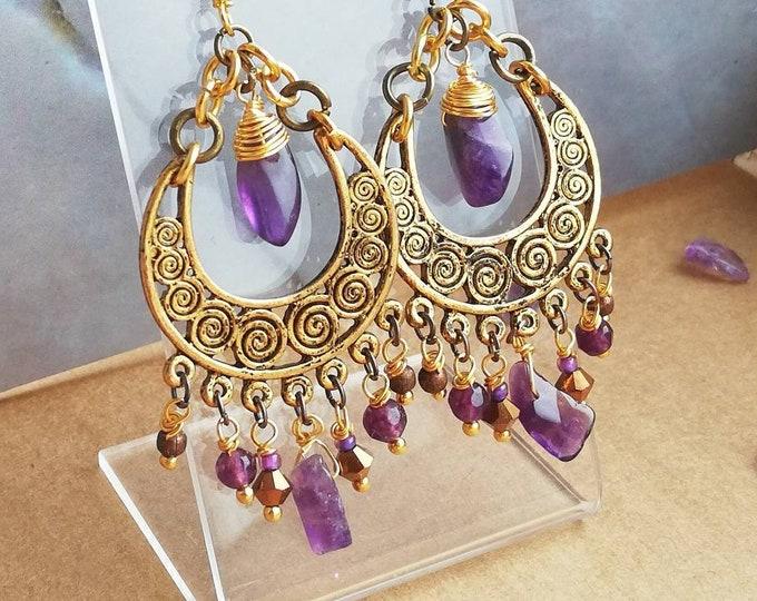 Gold Amethyst Chandelier Earrings