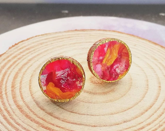 Hand Painted Stud Earrings in Abstract Red, Yellow, Gold Design