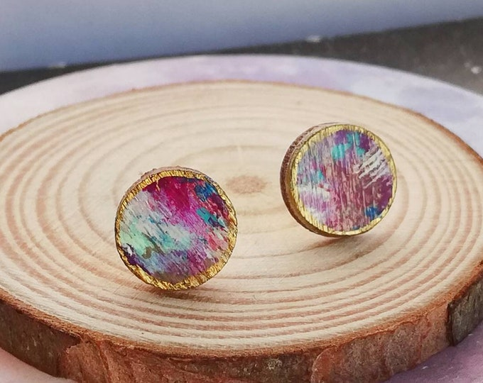 Hand Painted Stud Earrings in Purple, Gold - Abstract Art Design