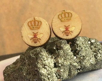 Queen Bee Earrings - Small Wood Studs