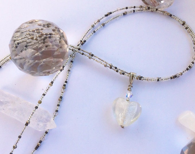 Beaded Double Strand Necklace in Silver & White with Heart Penant