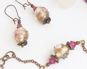 Pink and Copper Handmade Jewelry Set - Necklace, Earrings & Bracelet, Lampwork Floral Glass Beads/Crystals - Pretty Hippie Bohemian Gypsy