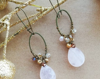 Pink Rose Quartz Drop Earrings with Bronze Charms & Crystals