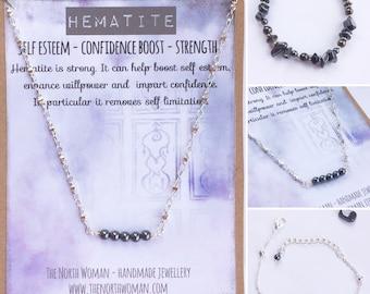 Hematite Healing Crystal Gemstone Bracelet, Necklace & Earrings - For Confidence & Self-esteem