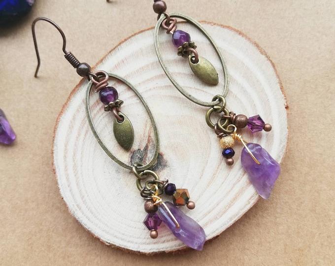 Bohemian Dangle Earrings with Amethyst Rough Gemstone Shard