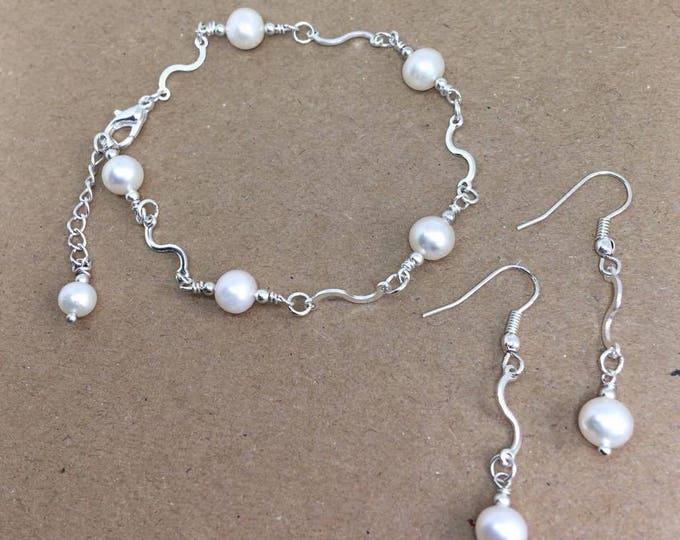 Wedding Jewelry - Freshwater Pearl Bracelet & Sterling Silver Earrings