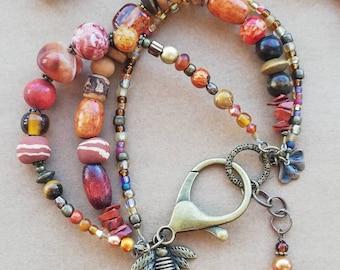 Three-Strand Chunky Orange, Copper Carnelian Gemstone Bracelet