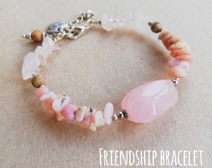 Pink Gemstone Bracelet with 'Friend' Charm - Rose Quartz