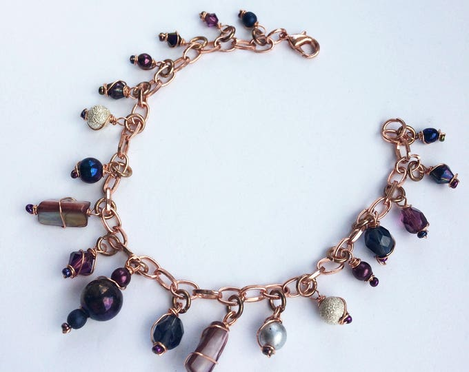 Rose Gold Charm Bracelet with Mother of Pearl Nuggets
