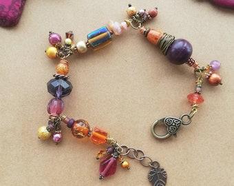 Chunky Gemstone Bracelet for Women - Purple Orange Pink
