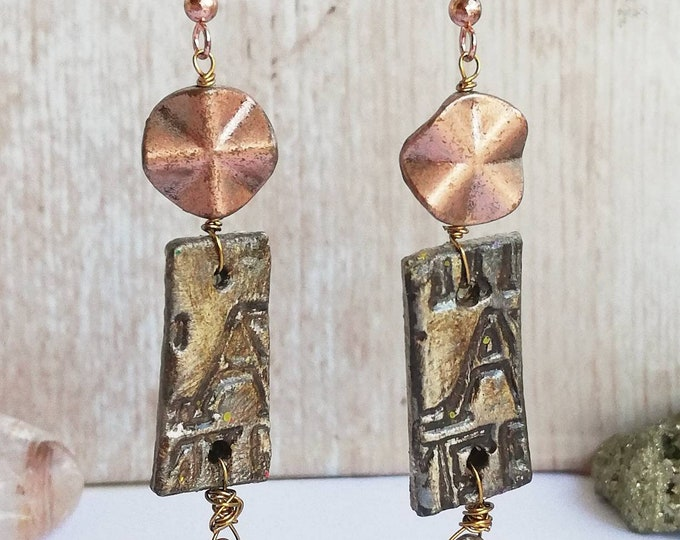 Rose Gold Earrings with Rustic Tourmaline