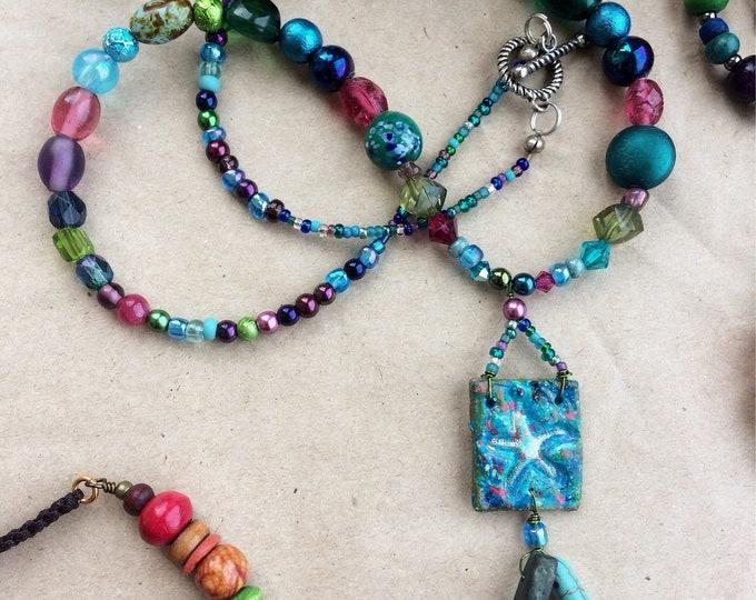 Fun Mermaid & Sea Glass Necklace 50cm long with Starfish Pendant