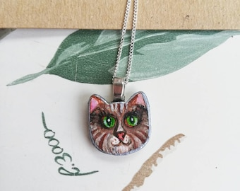 Cute Brown Cat Pendant Necklace (Named Mee Noi)