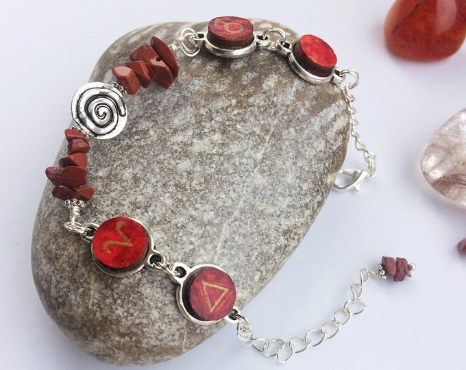 Aries Bracelet - Silver Link Bracelet with Hand Painted Astrology & Alchemy Charms