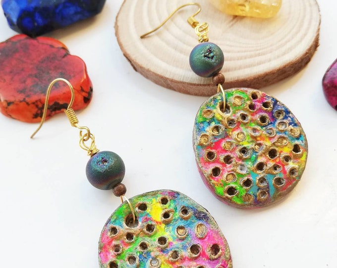 Unusual UK Statement Earrings - Bright Colourful Hand Painted Textured Pendant with Druzy Sparkling Crystal Geode - Pink, blue, purple, gold