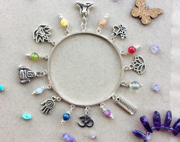 Silver Chakra, Meditation & Yoga Bangle with Rainbow Gemstones