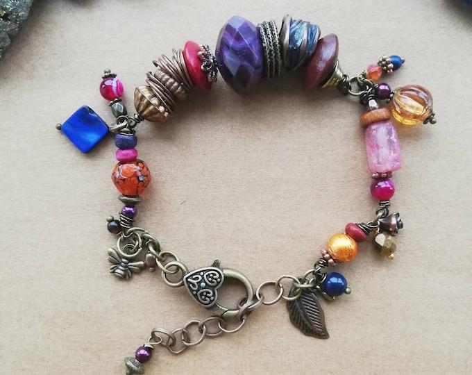 Chunky Beaded Bracelet in Orange, Pink & Copper