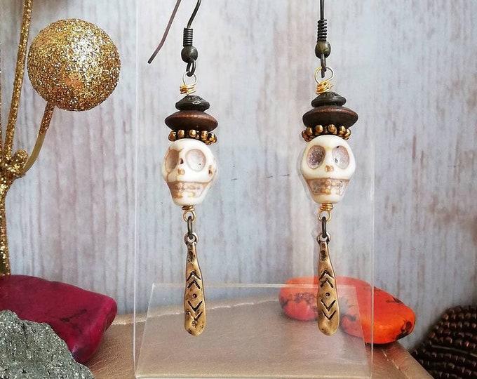 Skull Tribal Earrings - Long Statement Dangle Earrings with Gold Drop