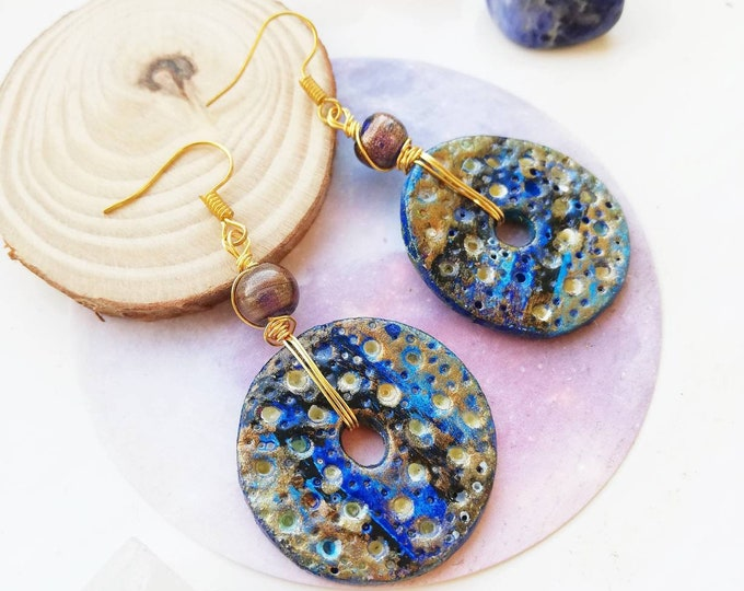 Hand painted Artisan Clay Planet Earrings - Blue and Gold