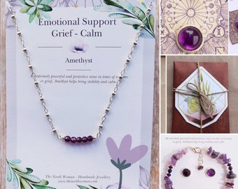 Healing Crystal Gemstone Bracelet, Necklace & Earrings - Amethyst for Grief