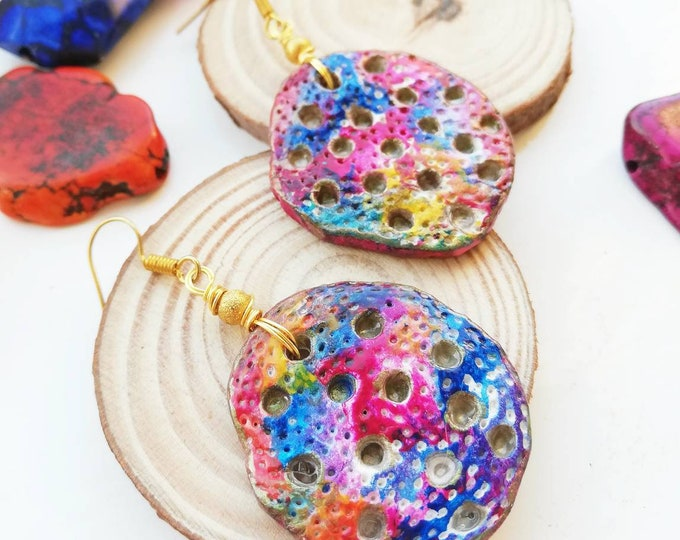 Unusual Colourful Earrings - Vibrant Bohemian Statement Jewellery in Gold