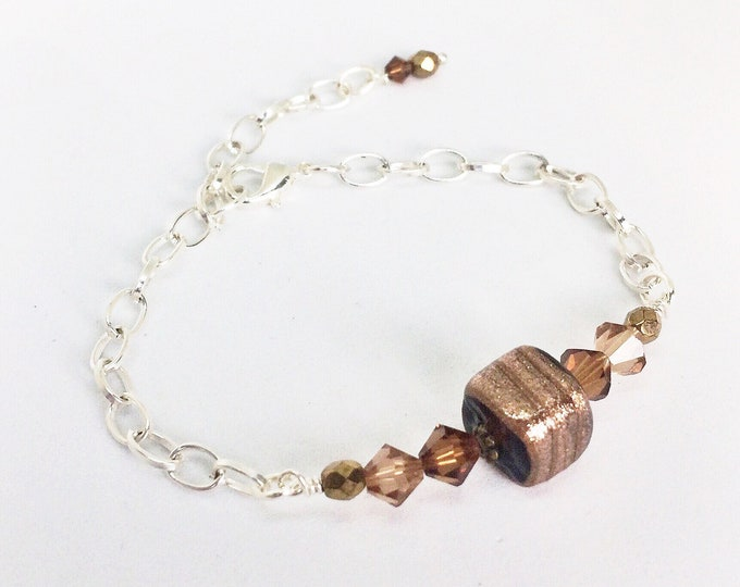 Beaded Bracelet with Gold Glitter Bead & Swarovski Crystals