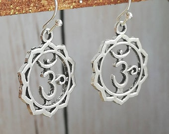 18672326b Silver Om Drop Earrings (Ohm/Aum) Buddhist Sacred, Spiritual Pendant for  Healing & Meditation, Holistic Gift - Simple Drop, Dangle Earrings