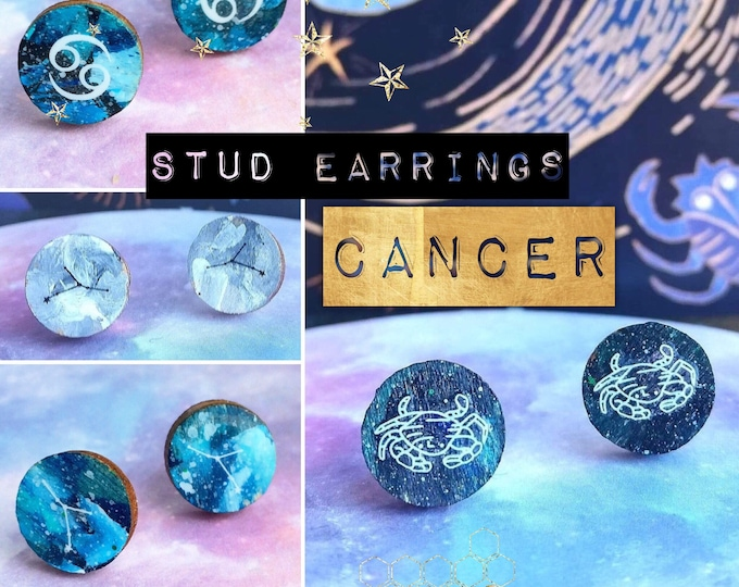 Cancer Earrings - Hand Painted Astrology/Zodiac Constellation Studs