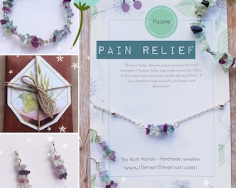 Holistic Healing Gemstone Bracelet , Necklace & Earrings for Pain Relief - Fluorite