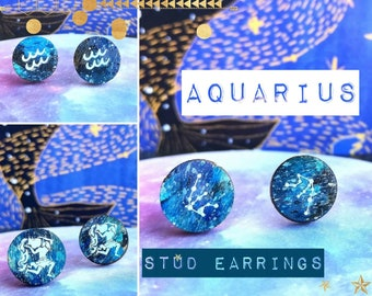 Aquarius Stud Earrings - Handmade & Painted with Astrological Constellation in Space