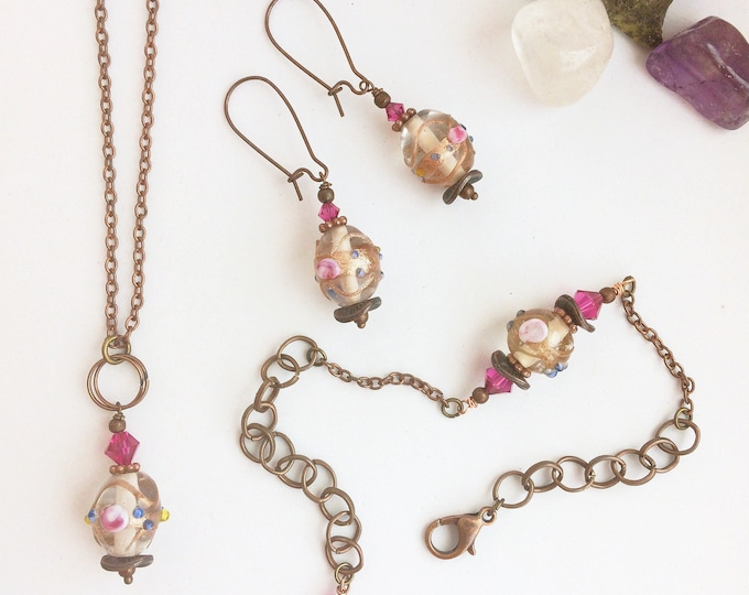 Handmade Matching Copper Jewelry Set with Pink, Gold Lampwork Glass Beads