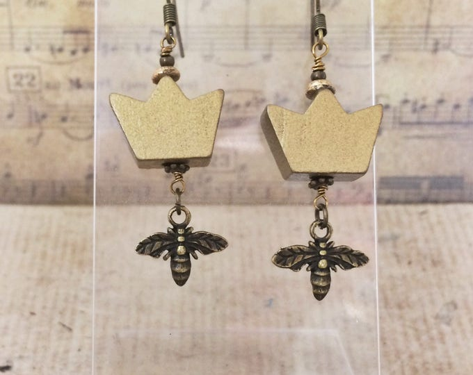 Queen Bee Earrings - Gold Crown Brass Bee Charm Unusual Drop Earrings - Inspired by Beyonce & the Beyhive!