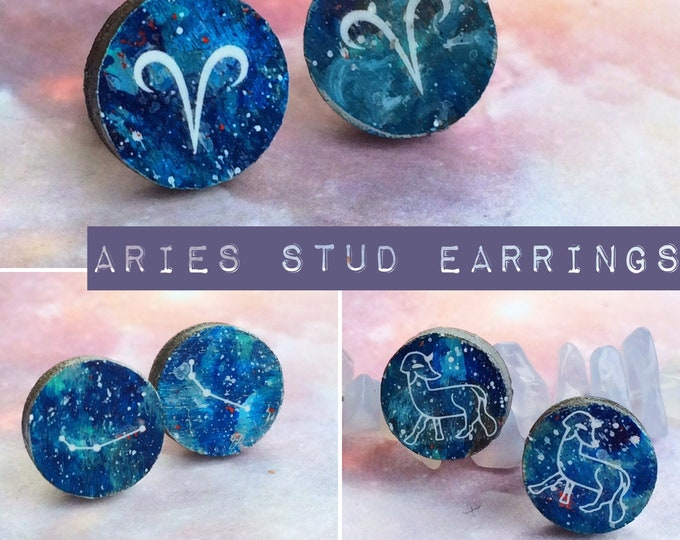 Aries Stud Earrings - Unusual Handmade & Painted Astrology/Zodiac Star Constellation