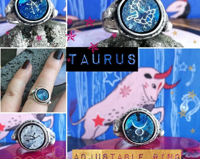 Silver Taurus Ring - Adjustable Fit with Starsign Constellation