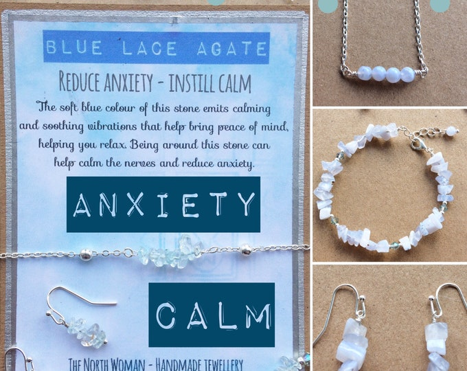 Anxiety Aid Bracelet - Healing Gemstone Bracelet, Necklace, Earrings for Anxiety & Calm - Blue Agate