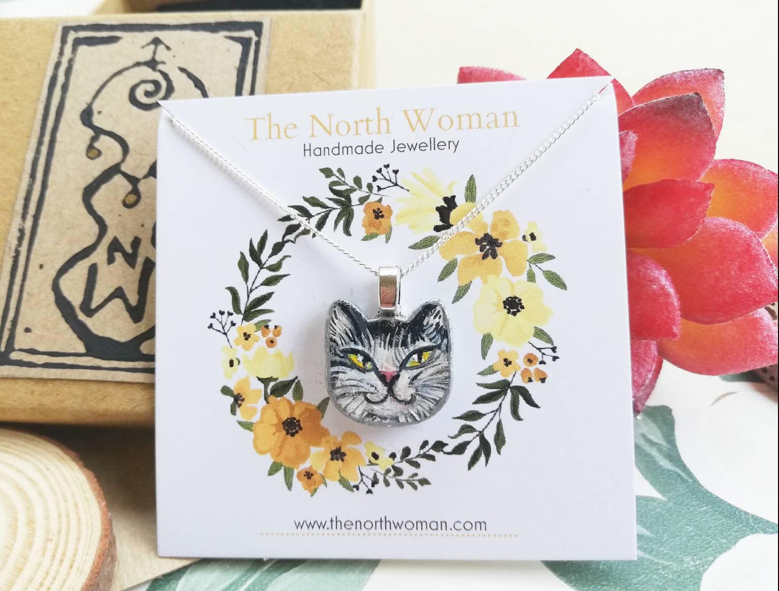 White & Black Longhair Cat Pendant Necklace (Named Frida)