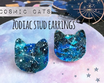 Cosmic Cats! - Zodiac Stud Earrings - Unusual Galaxy, Space Themed - All Astrology Constellations inc. Leo, Aries - Quirky, Fun, Cute Gift