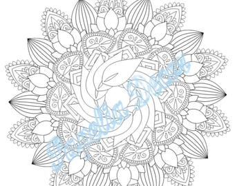 Mandala coloring page - Destress - Adult coloring relax page - Printable - Instant digital download - PDF