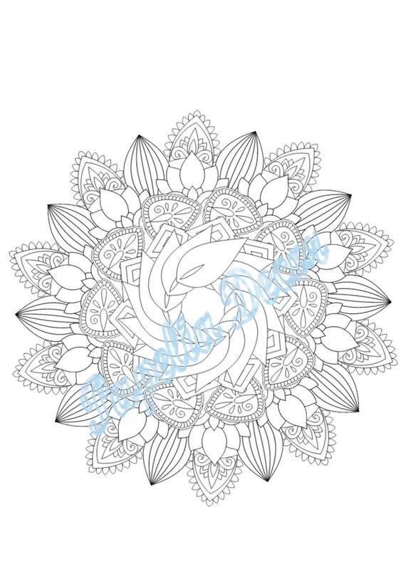 Mandala Coloring Page Destress Adult Relax