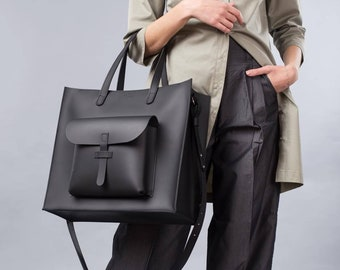 Leather work tote - Tote bag personalized - Leather work tote bag for women - Laptop bag women - Leather tote bag -Black bag for women