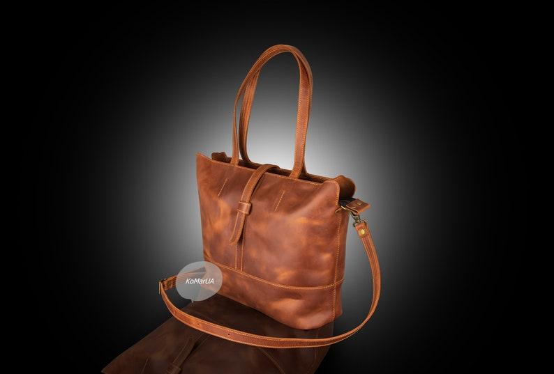 Leather overnight handbag Brown leather tote shoulder bag for women